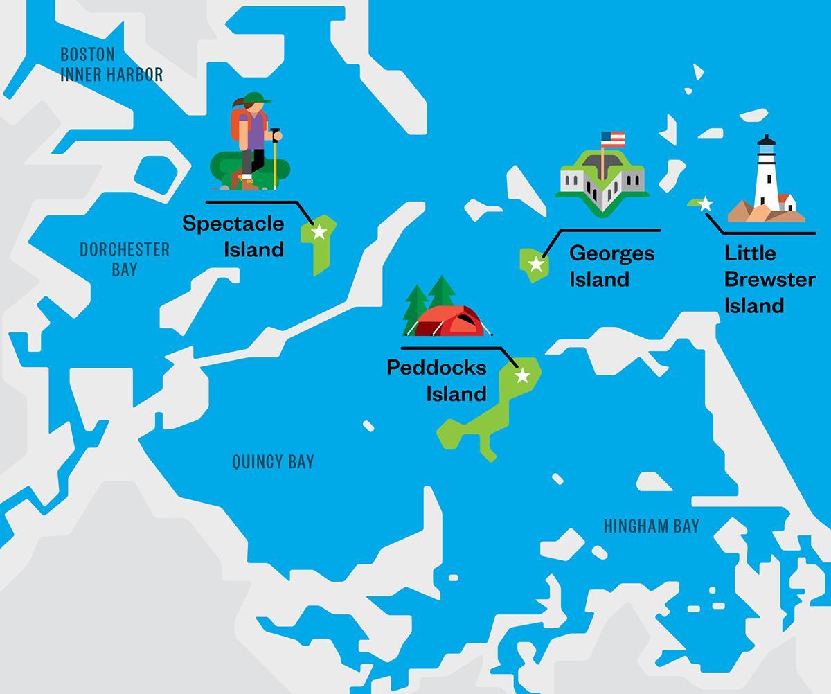 Boston harbor map Map of Boston harbor islands United States of