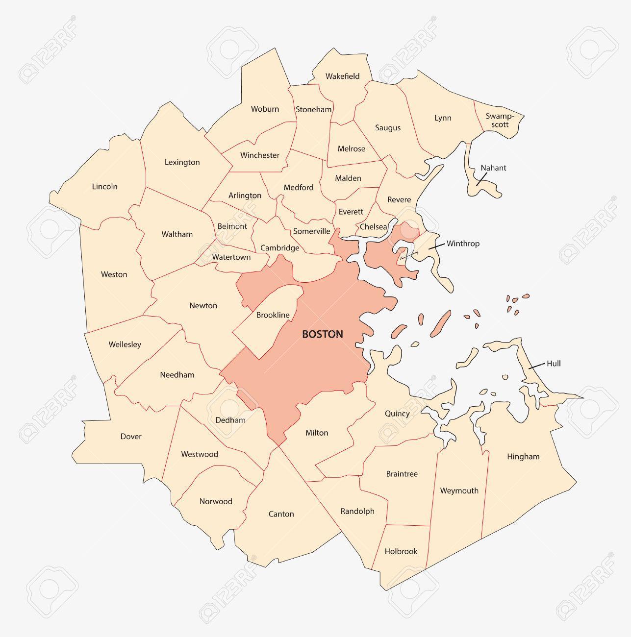 Map of Boston area Map Boston area United States of America