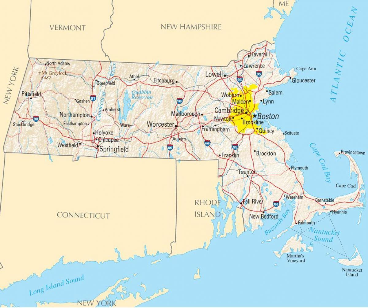 Boston america map - Map of Boston usa (United States of America)