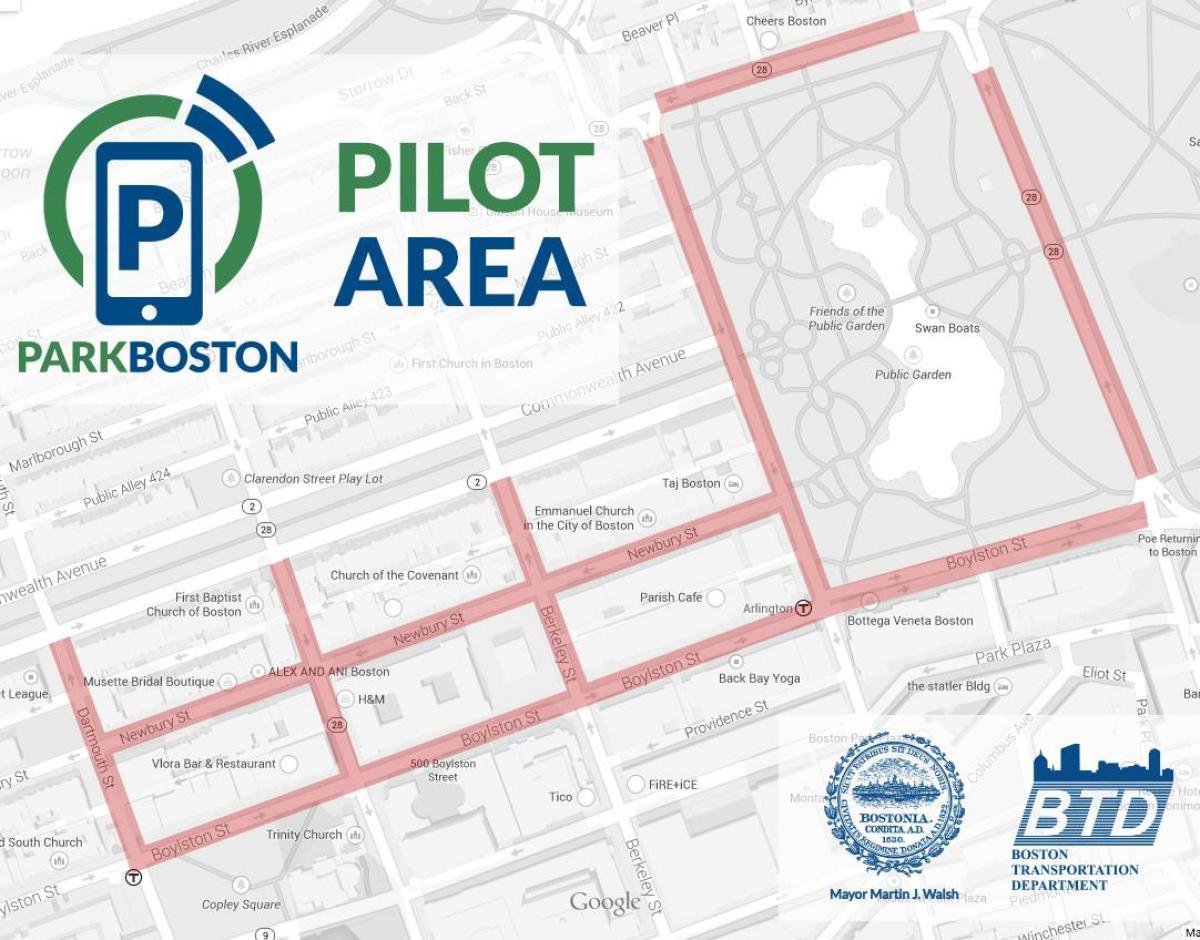 Boston Parking Meter Map Boston parking map   Boston parking meter map (United States of