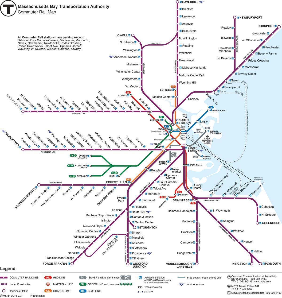Boston train map Boston train station map United States of America