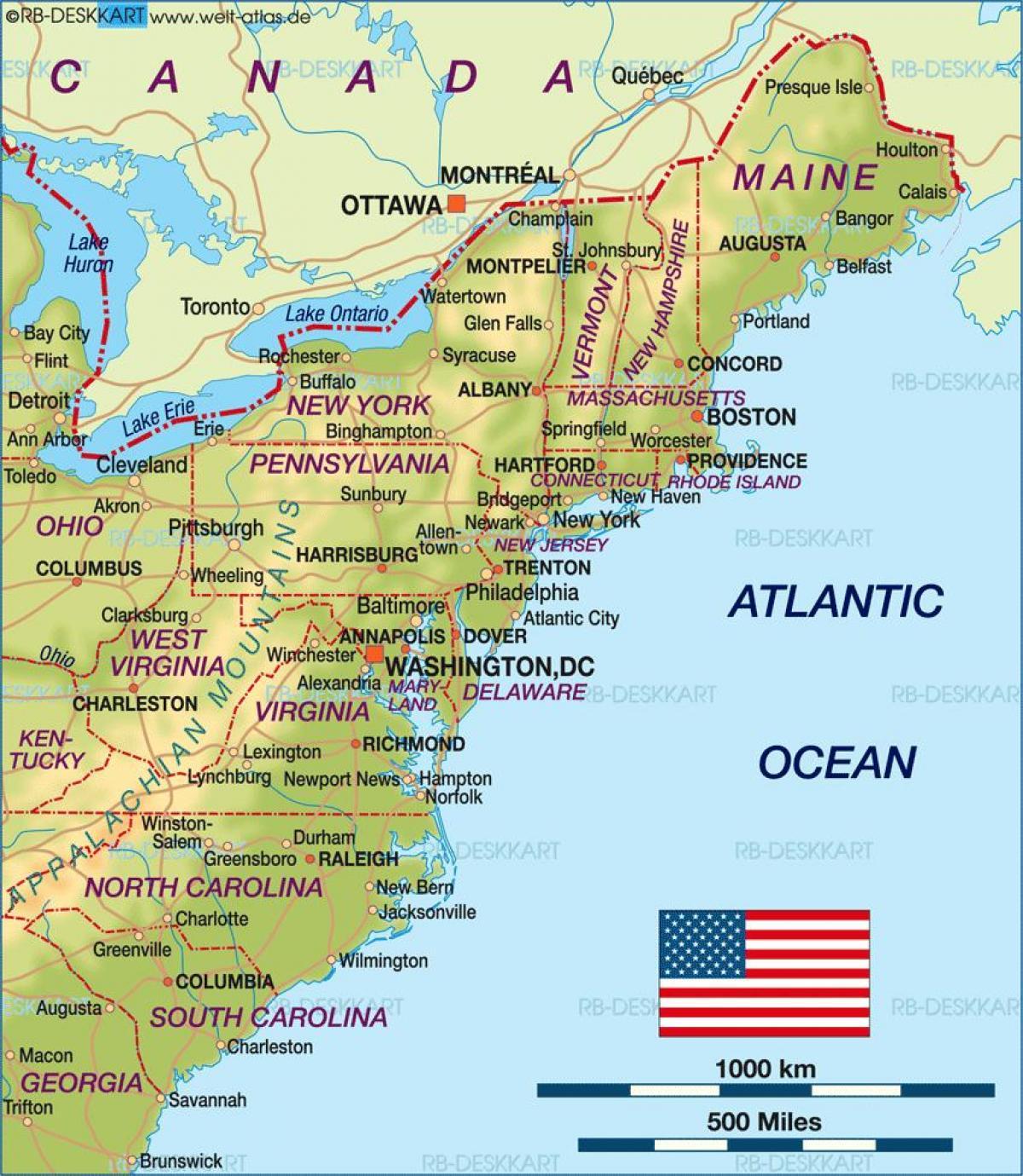 Boston usa map - Boston on us map (United States of America)