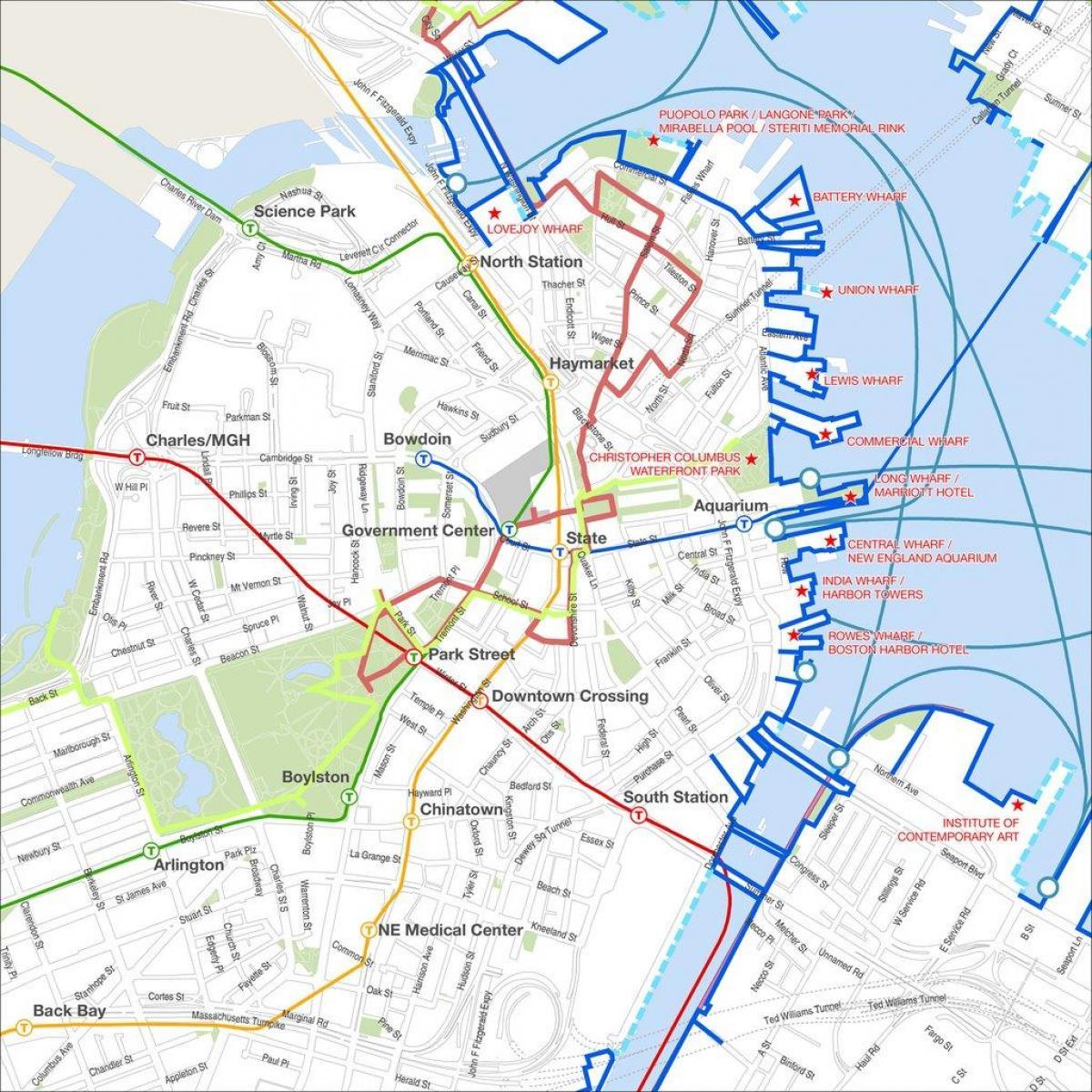 boston walking tour map Boston Walking Map Boston Walking Tour Map United States Of boston walking tour map