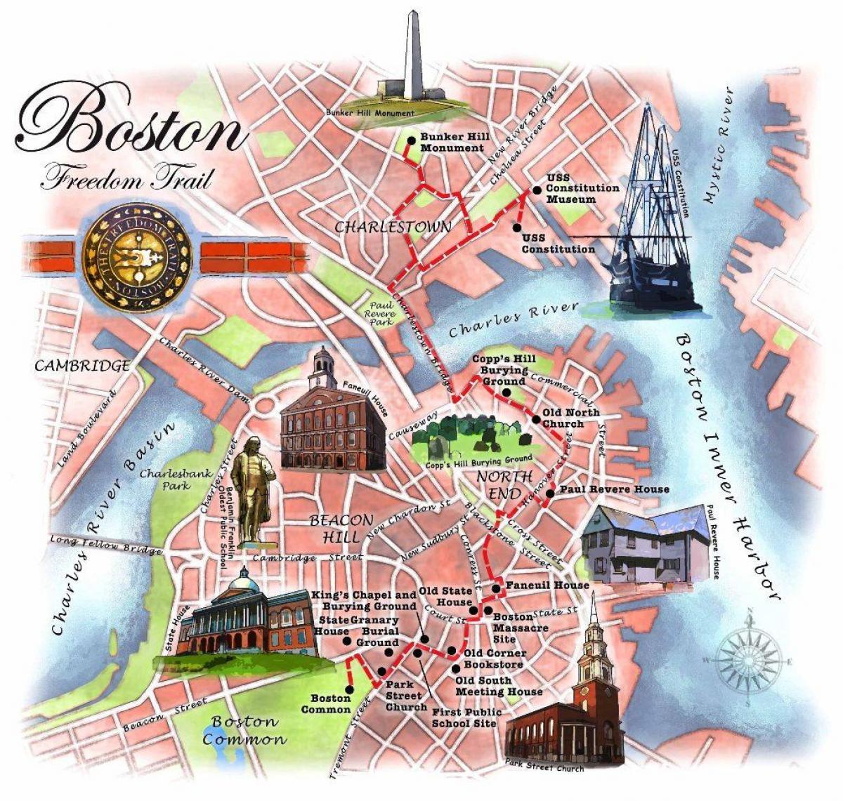 Freedom trail Boston map   Map of Boston freedom trail (United