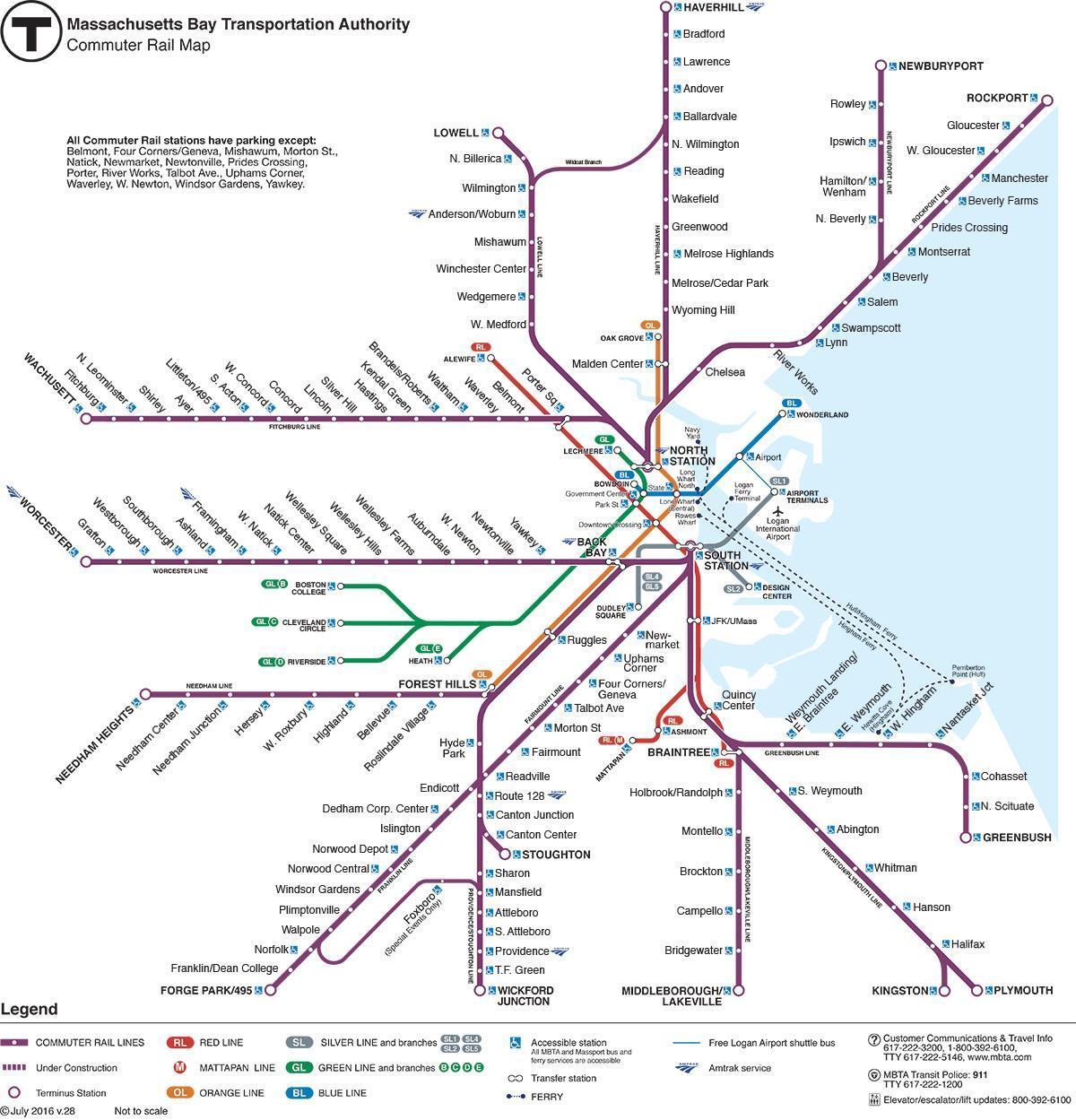 Boston Rail Map MBTA commuter rail map   Commuter rail map Boston (United States
